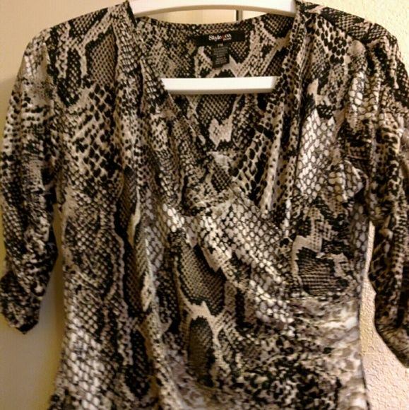 Style & co. Top Style & Co. Petite printed Ruched Surplice Top . Style & Co Tops Blouses
