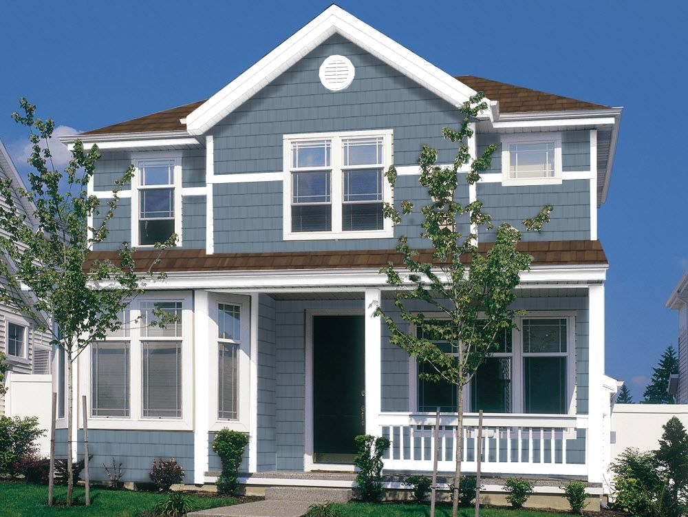 Harbour Blue Siding Pelican Bay One White Trim Exterior House Siding House Exterior Vinyl Siding House