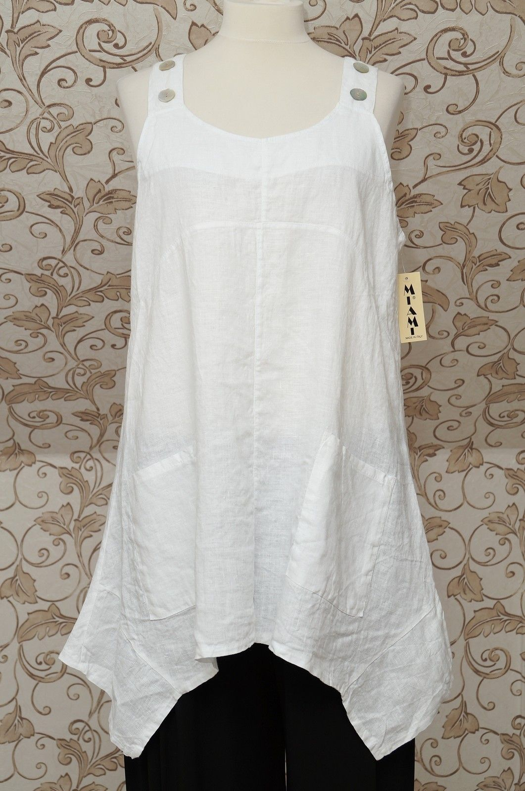 Gorgeous white linen pinafore tunicdress lagenlook long top so