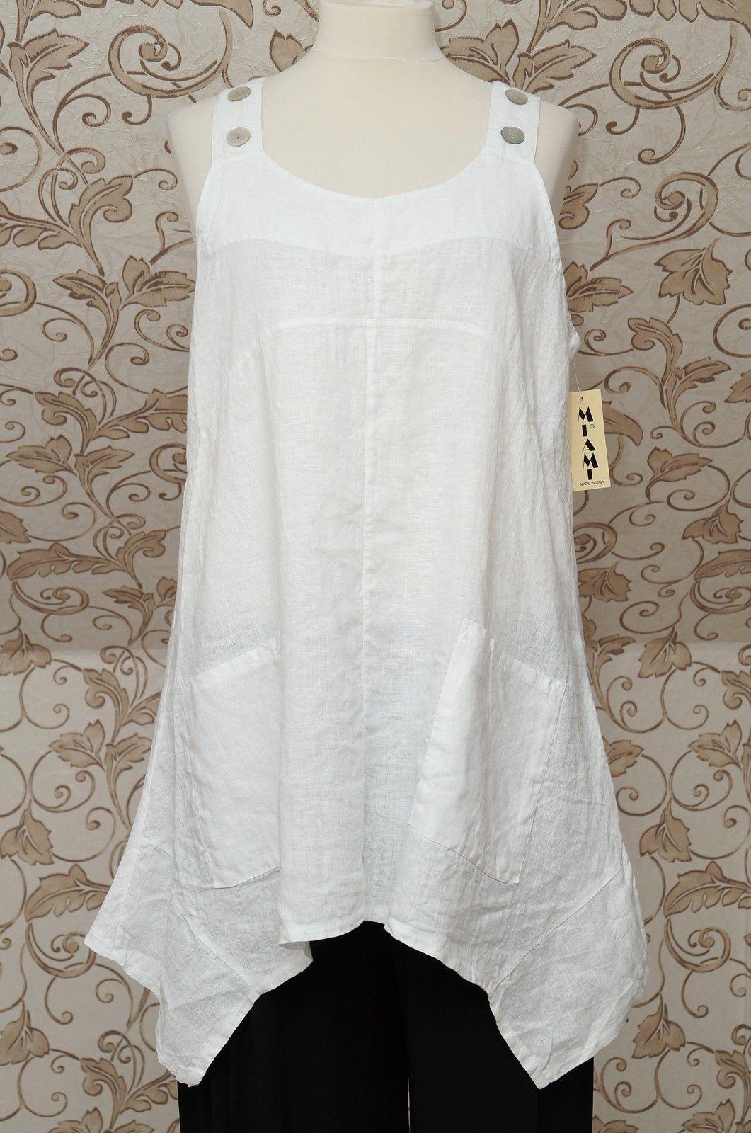 White pinafore apron ebay - Gorgeous White 100 Linen Pinafore Tunic Dress Lagenlook Long Top So Quirky Osfa