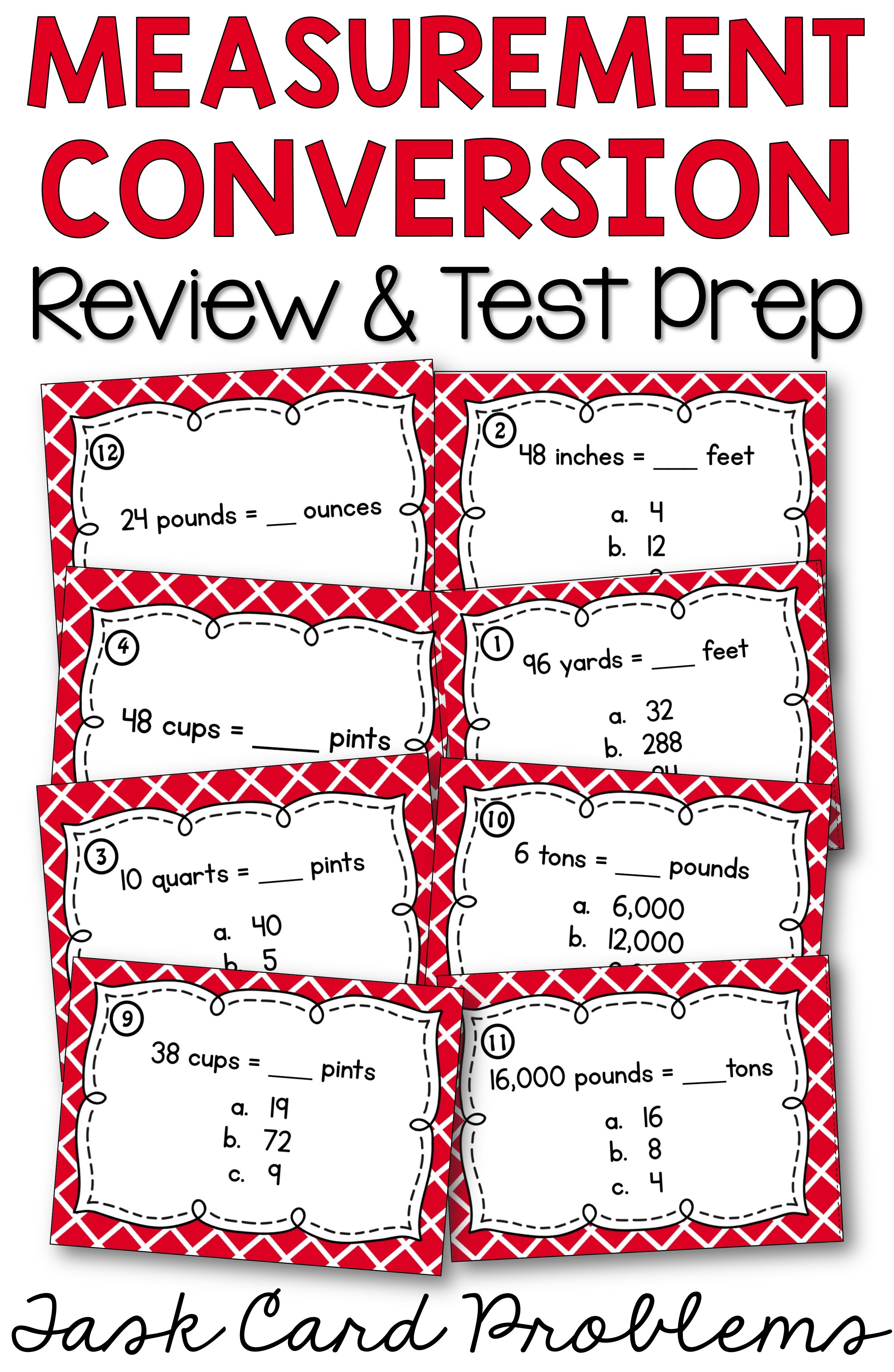 ... easy for 4th grade, 5th grade, and middle school students with  measurement conversion task cards. Ditch the worksheet and make 4th grade  math test prep ...