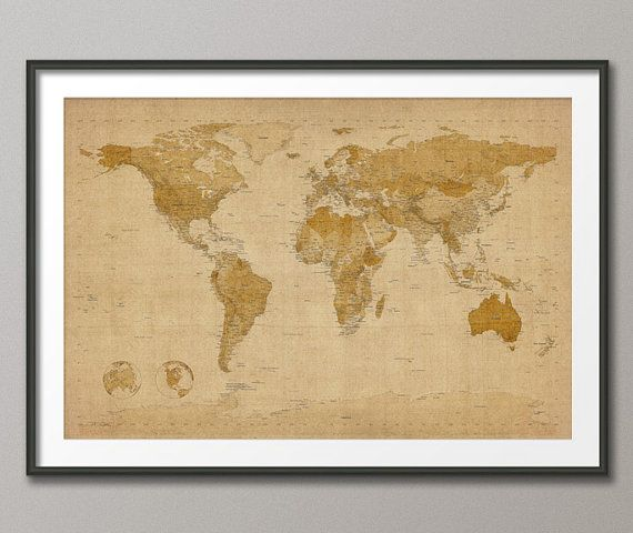 Vintage World Map 24 x 36 -Rolled Canvas Print