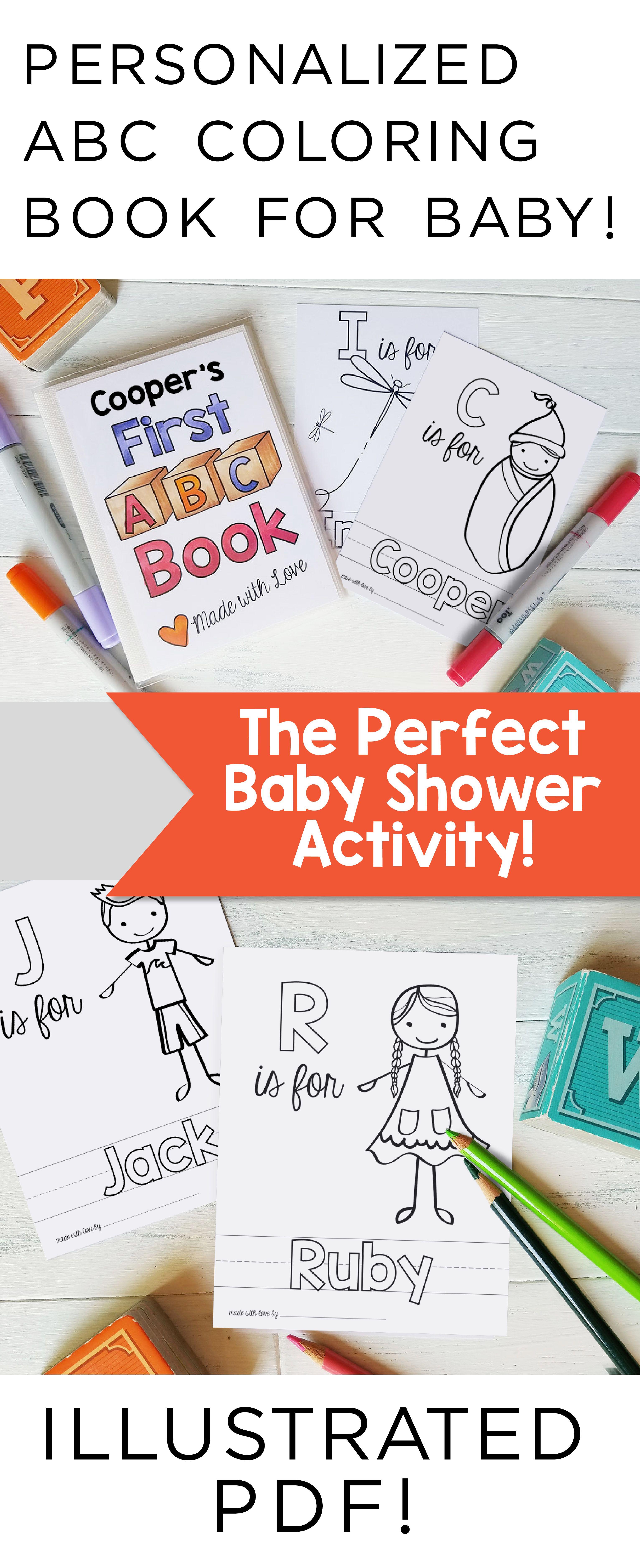 Printable Abc Book Baby Shower Activity Alphabet Baby