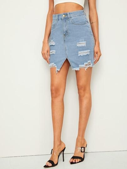 9ad574fff2 Ripped Raw Hem Denim Skirt [swskirt01190508221] - $21.00 : baglooking.com