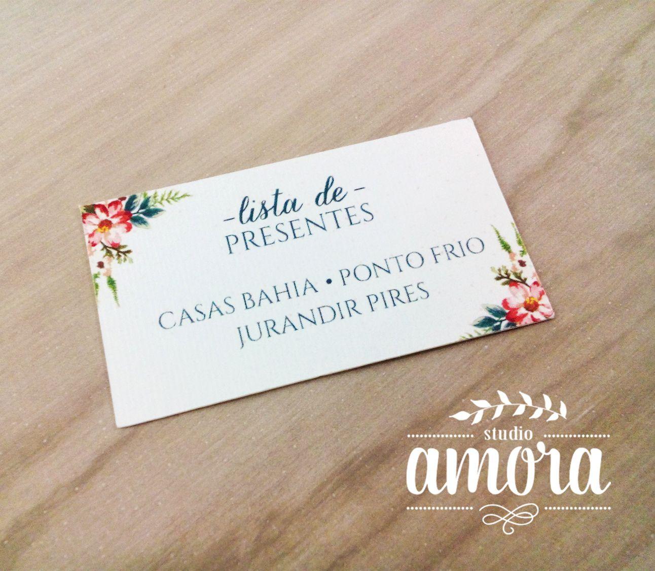 cartão lista de presente para o convite