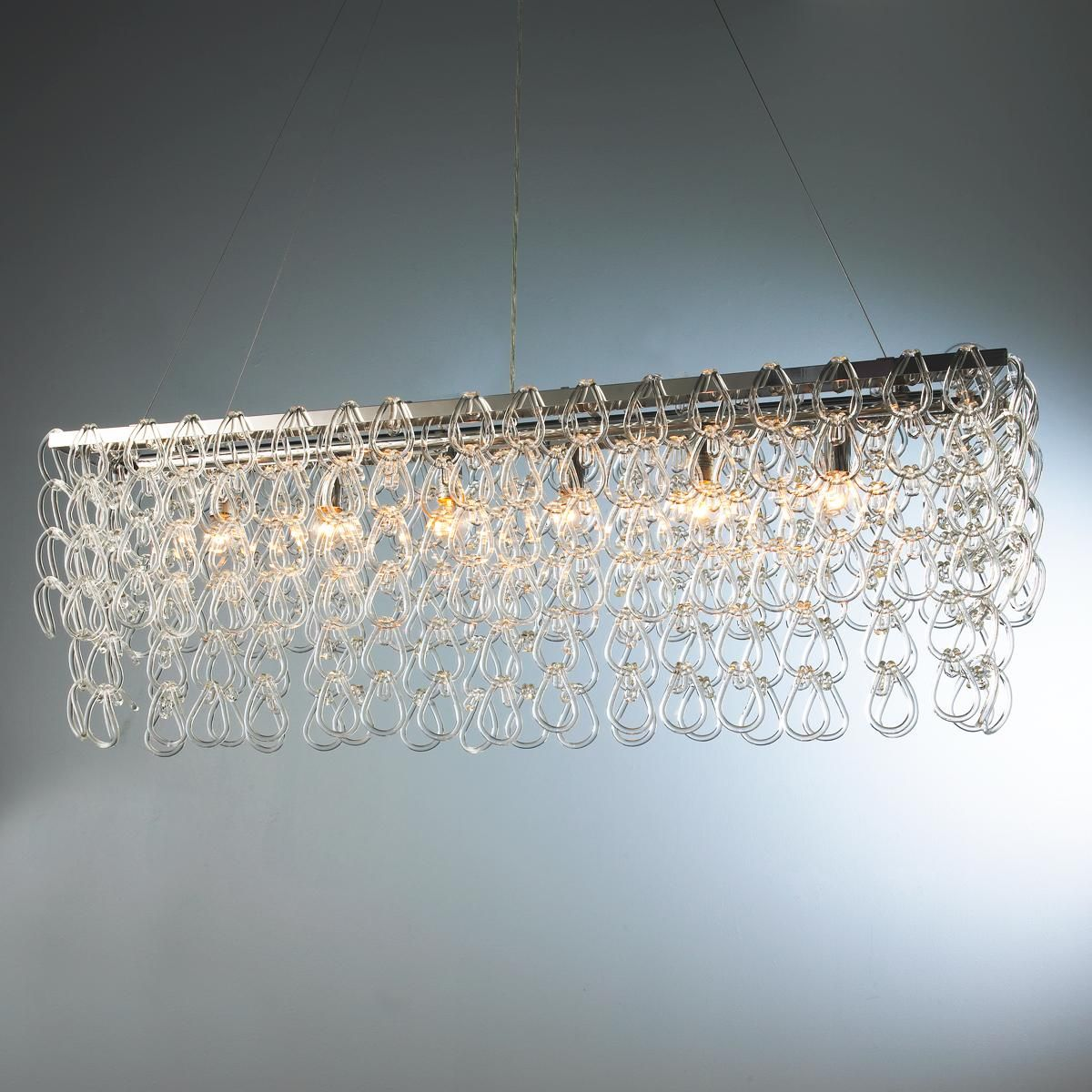 Rectangular Glass Chain Island Chandelier Glass Chain Links Hang From Chrome Bands Creating A Stunning Modern I Chandelier Shades Basement Lighting Chandelier