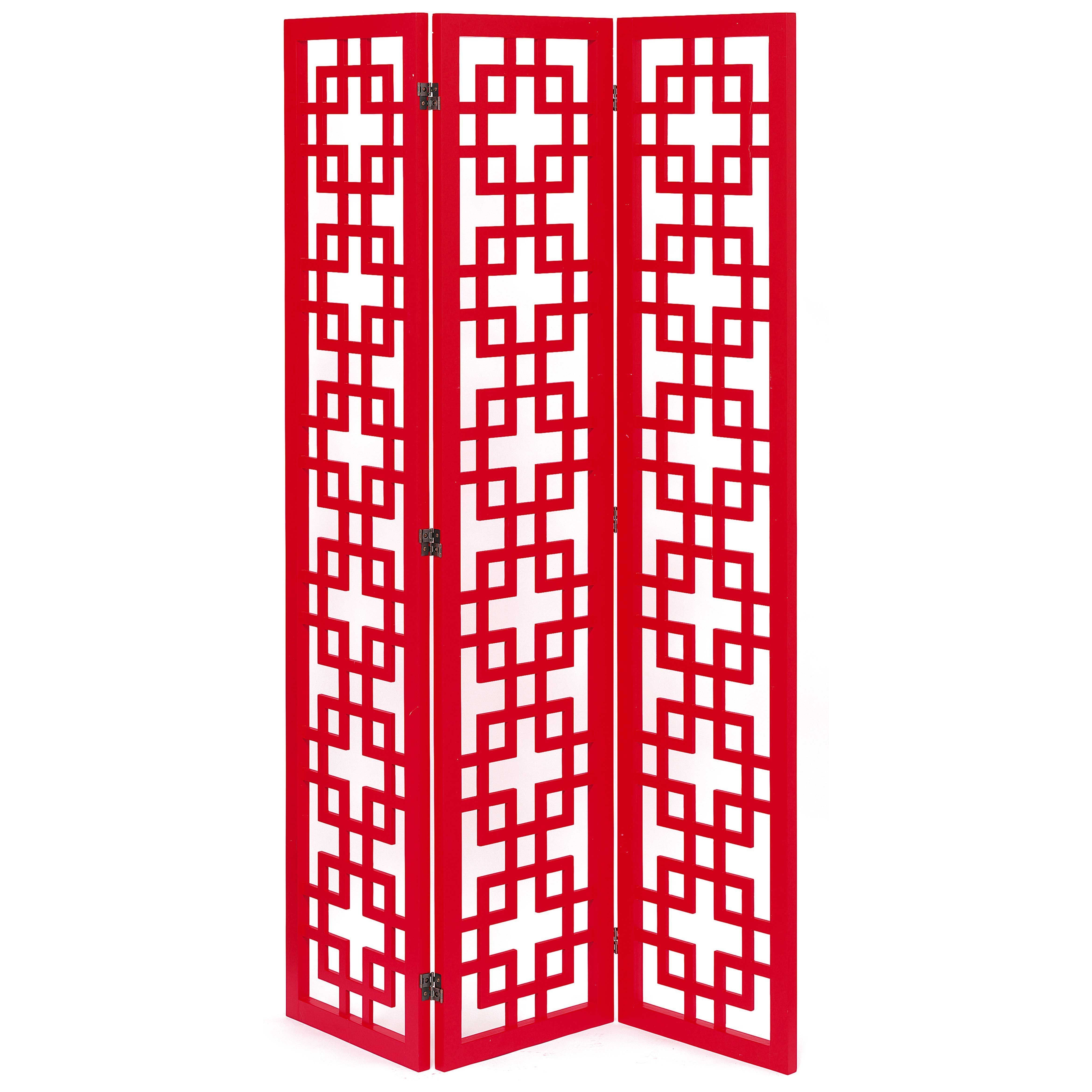 Retro oriental folding room divider screen in red from domayne