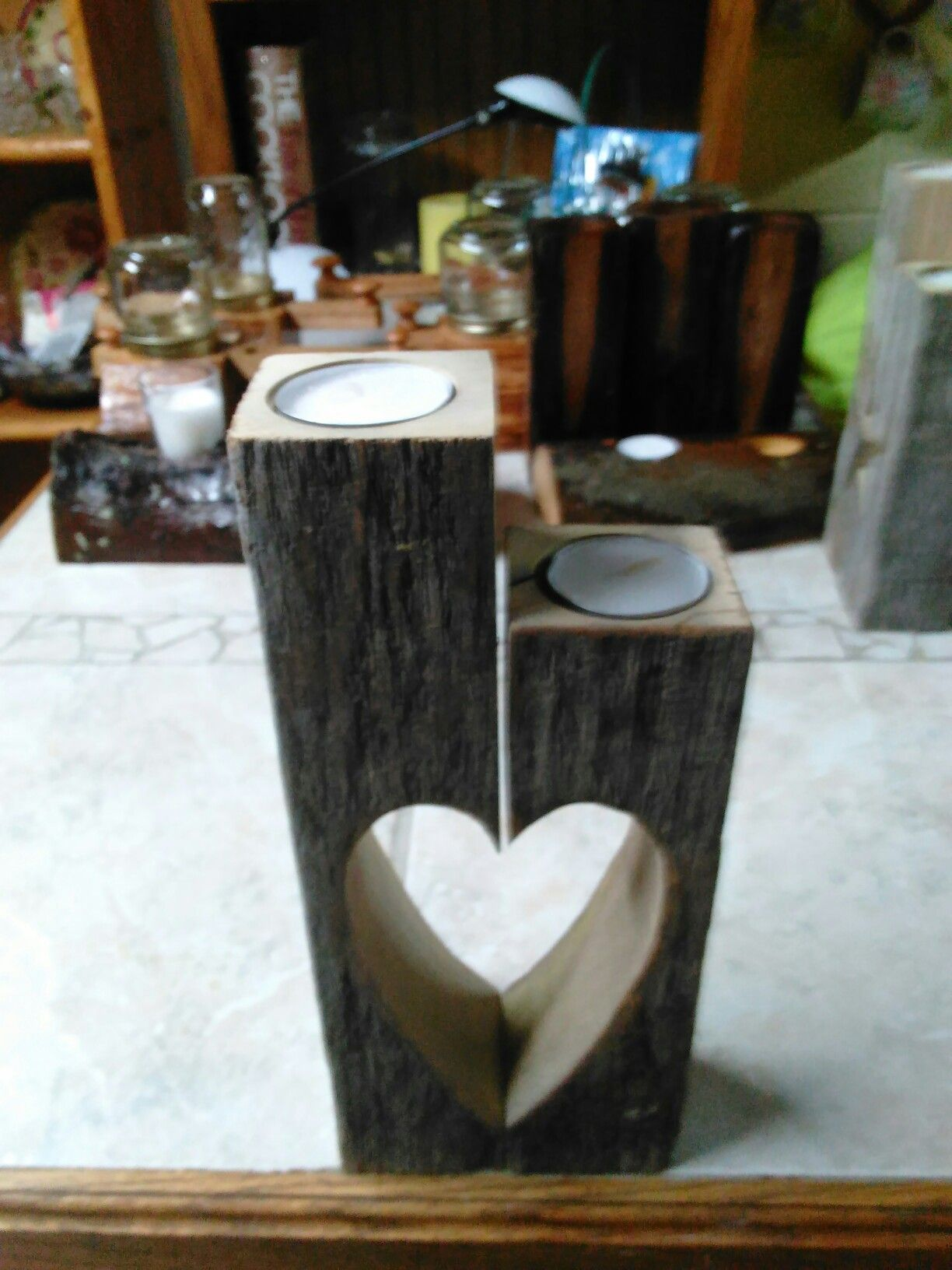 Wooden candle holders crafts - Weathered Wooden Candle Holder Heart Design