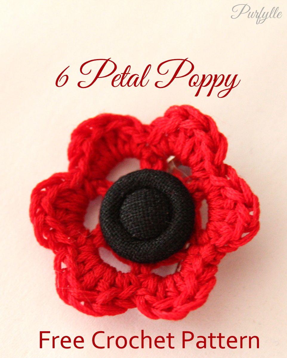 YFP#35. 6 Petal Poppy; Purfylle: Free Crochet Pattern; EyeLoveKnots ...