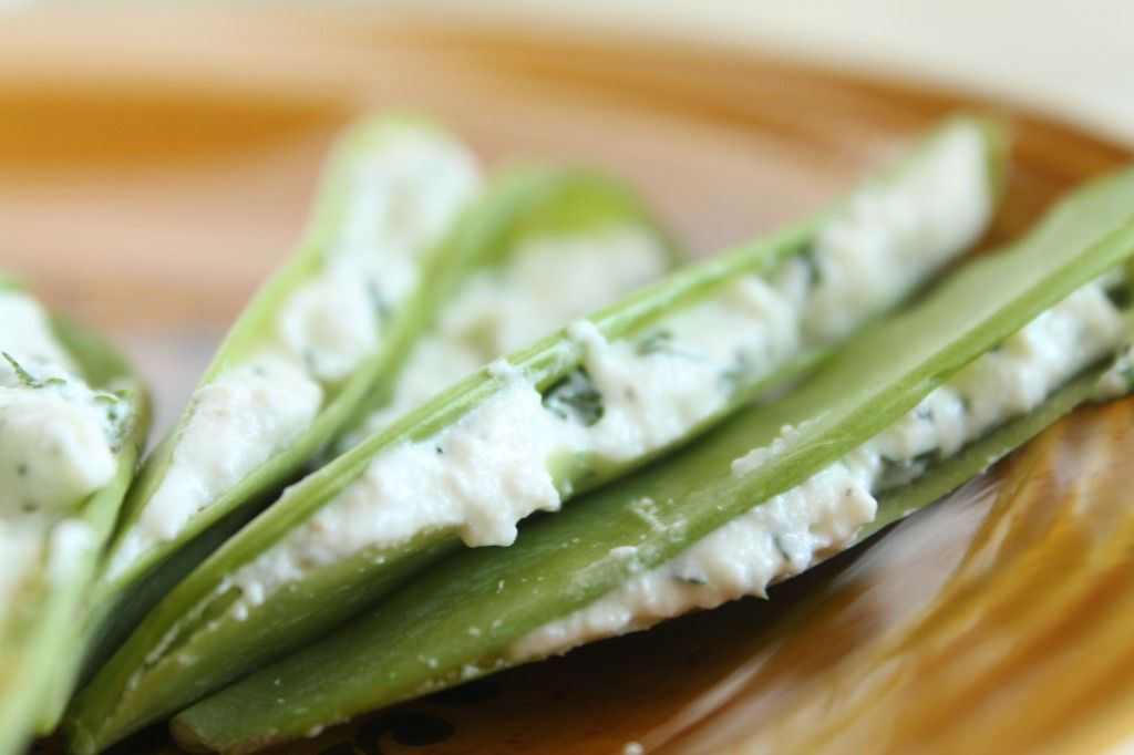 Herb and Cheese Stuffed Snap Peas courtesy of a VERY talented blogger www.lifeasastrawberry.com