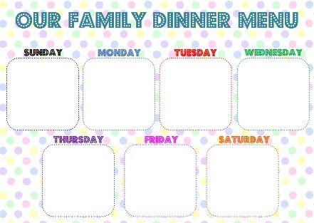 printable family meal planner menu planning pinterest meal