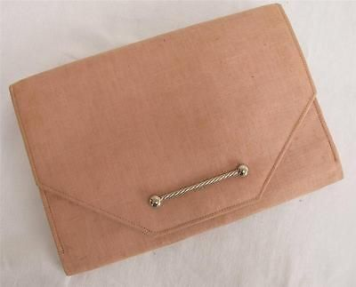 Vintage #1930's pale pink #linen & #chrome clutch purse handbag,  View more on the LINK: http://www.zeppy.io/product/gb/2/391339630565/