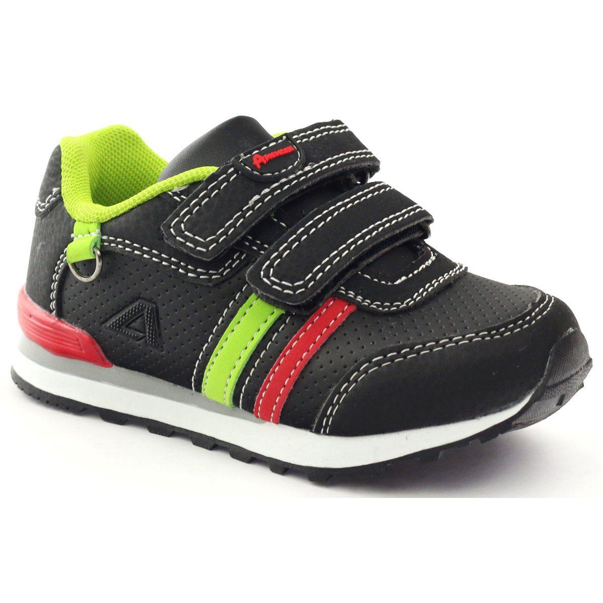 American Club Buty Sportowe Na Rzep American 29057 Czarne Czerwone Zielone Sports Shoes Kid Shoes Shoes