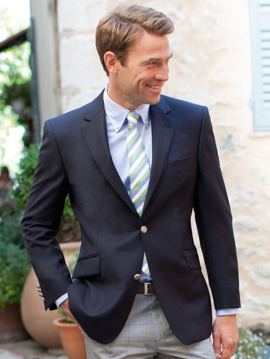 navy blazer grey pants like this - not such a crazy tie