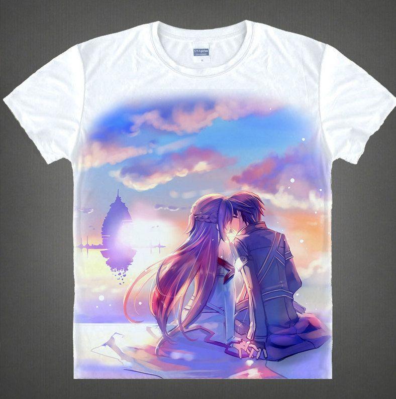 Sword Art Online T-shirt Kirito Asuna Kirigaya Kazuto Anime Manga Gift Unisex T