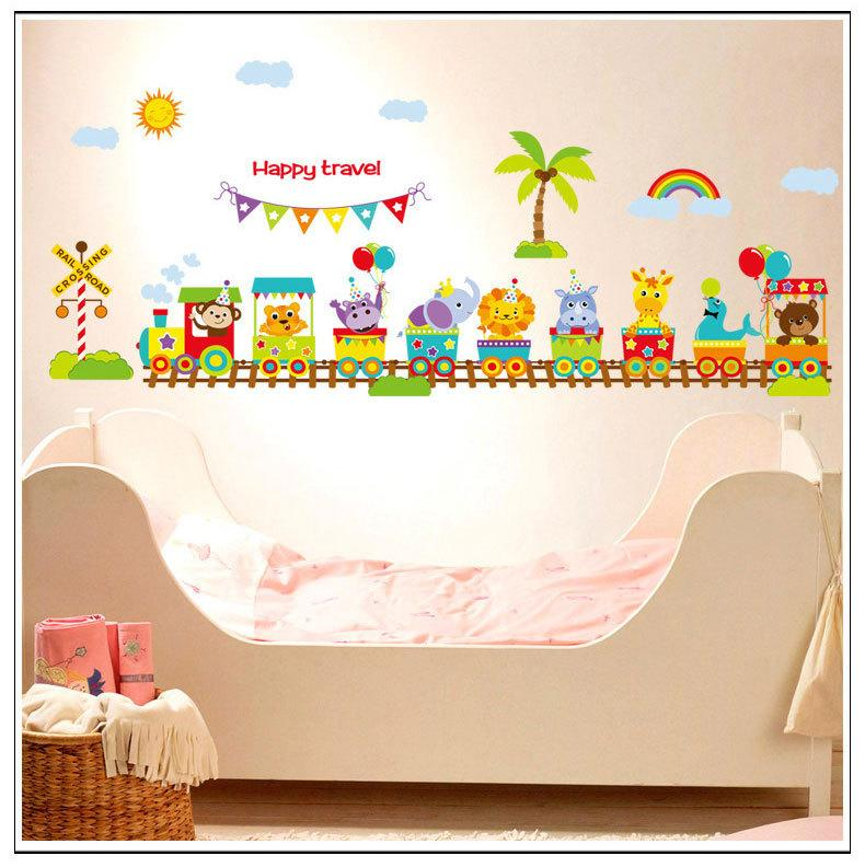 Cartoon Animal train baby room wall stickers for kids room boy ...