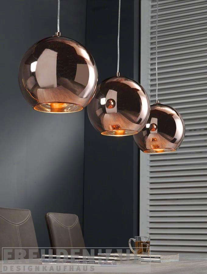 Hängelampe Retro Ball 3 Kugeln Kupfer | Lampe esszimmertisch