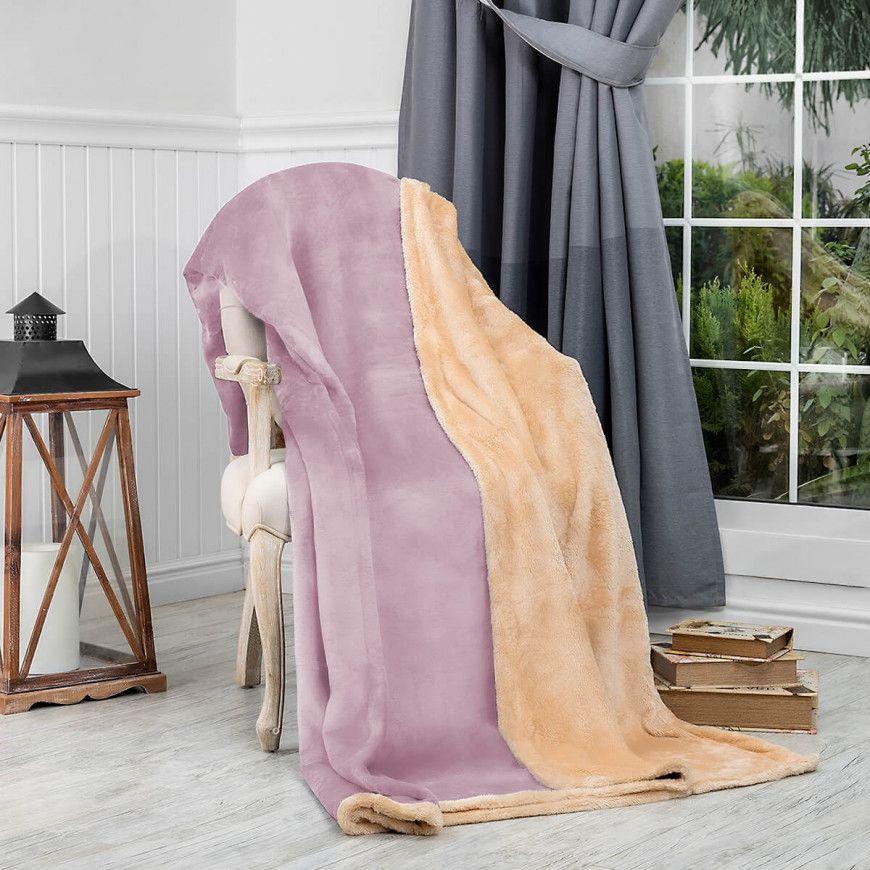 بطانية سادة مخمل وفرو مزدوج ليلكي 240 220 سم Blanket Throw Blanket Velvet