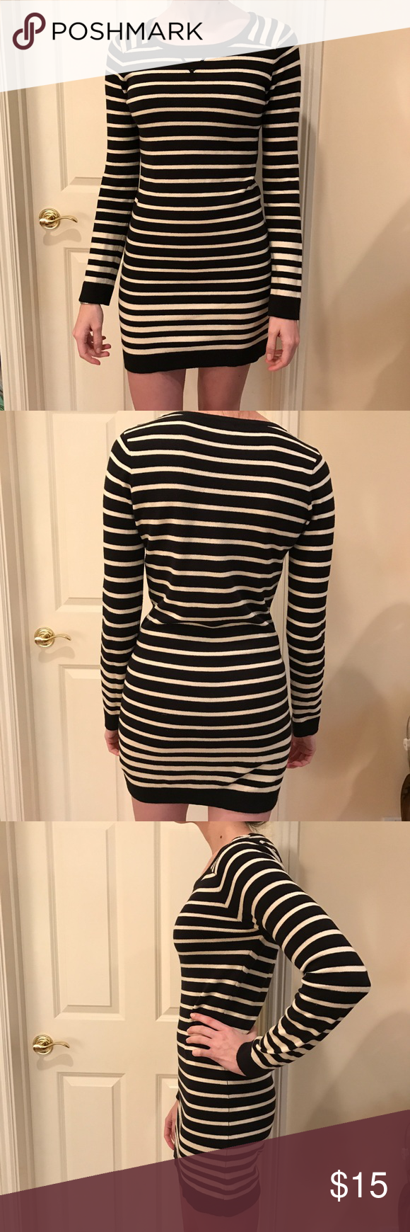 Knit Stripe Long Sleeve Dress. Black and white striped dress. The material is a stretchy knit, but it hold its shape. The neck is rounded, the sleeves are full length. Forever 21 Dresses Mini