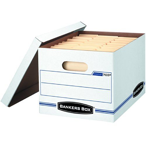 Bankers Box Stor/File Storage Box with Lift-Off Lid, Letter/Legal, 12 x 10 x 15 Inches, White, 4 Pack (0070308) - HomeGoodsReview