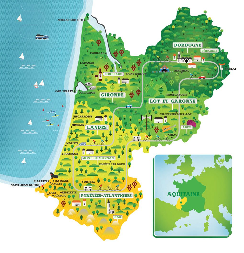 Map of Aquitaine France My Family Heritage Pinterest