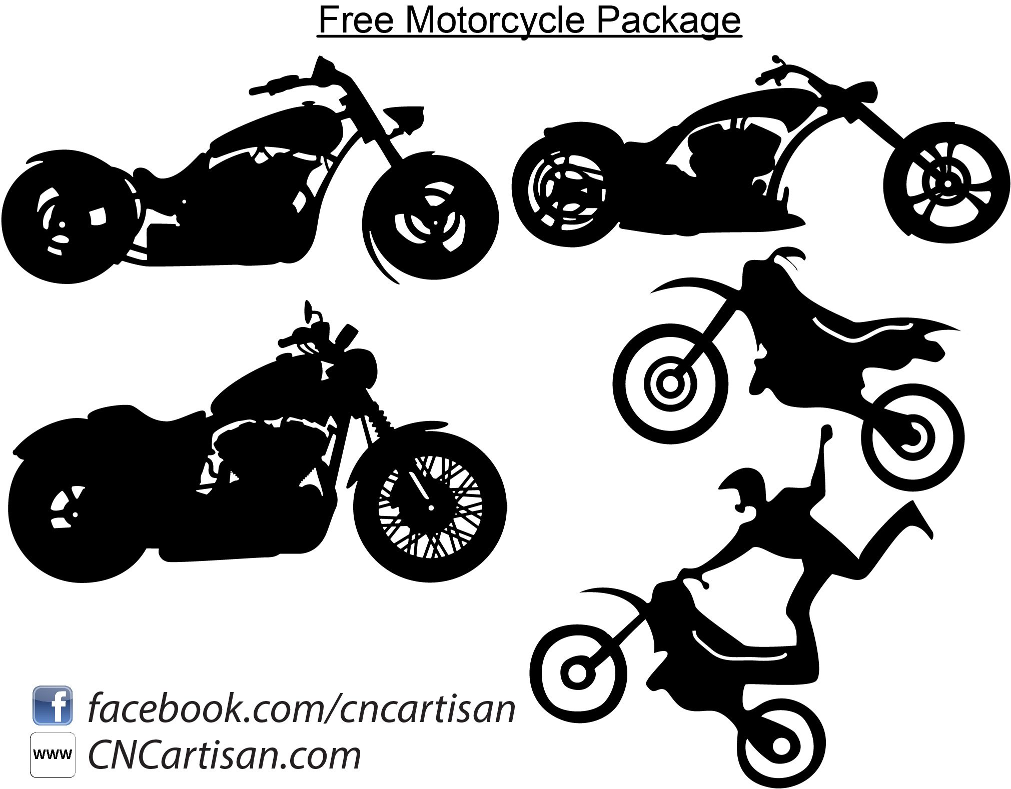 Motorcycle and Chopper Bike Free DXF files Silhouette