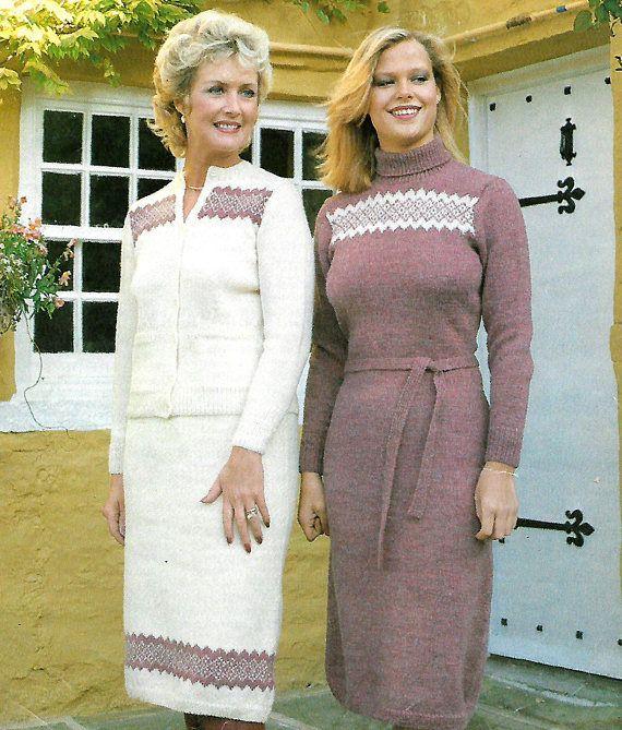 knitting pattern women's ladies fair isle jumper dress | knitting ...