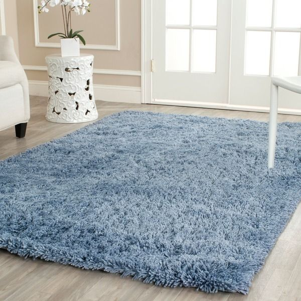 safavieh classic ultra handmade light blue shag rug (5' x 8