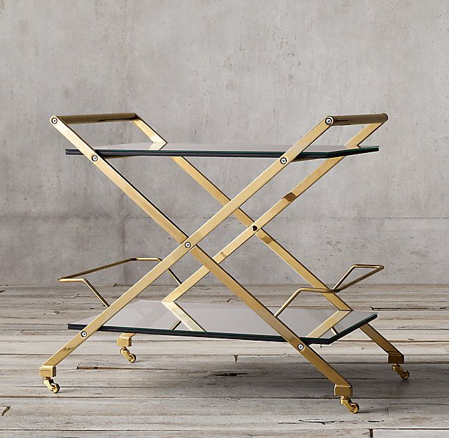 Rh S Rickey Bar Cart Thick Panes Of Glass Suspended On A Sleek X Shaped Frame Create A Gleaming Stage For Mixology Magic Cr X Shaped Bar Cart Polished Nickel