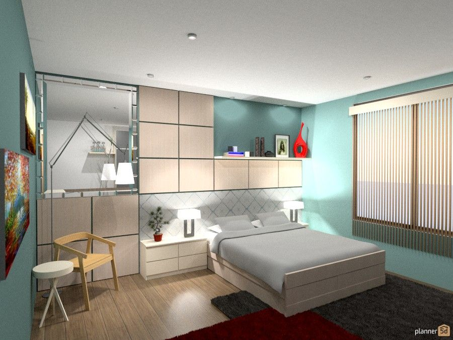 Bedroom design. Used colors: light blue and white. Furniture ...