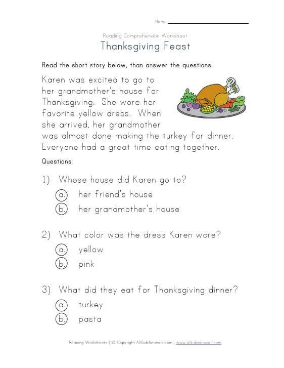 Thanksgiving Reading Comprehension Worksheet Reading Comprehension