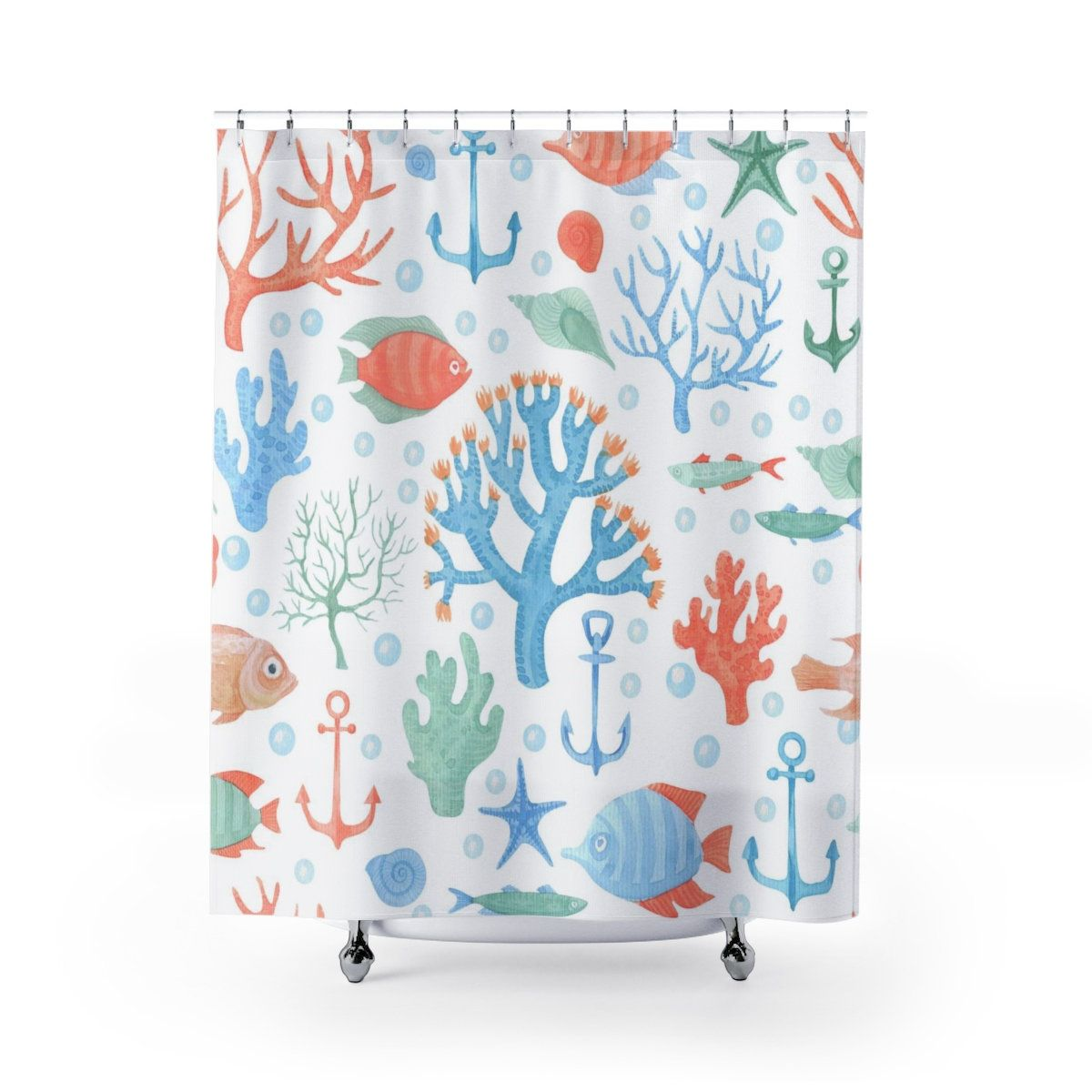 Ocean Shower Curtains Coral Reef Colorful Tropical Fish Shower
