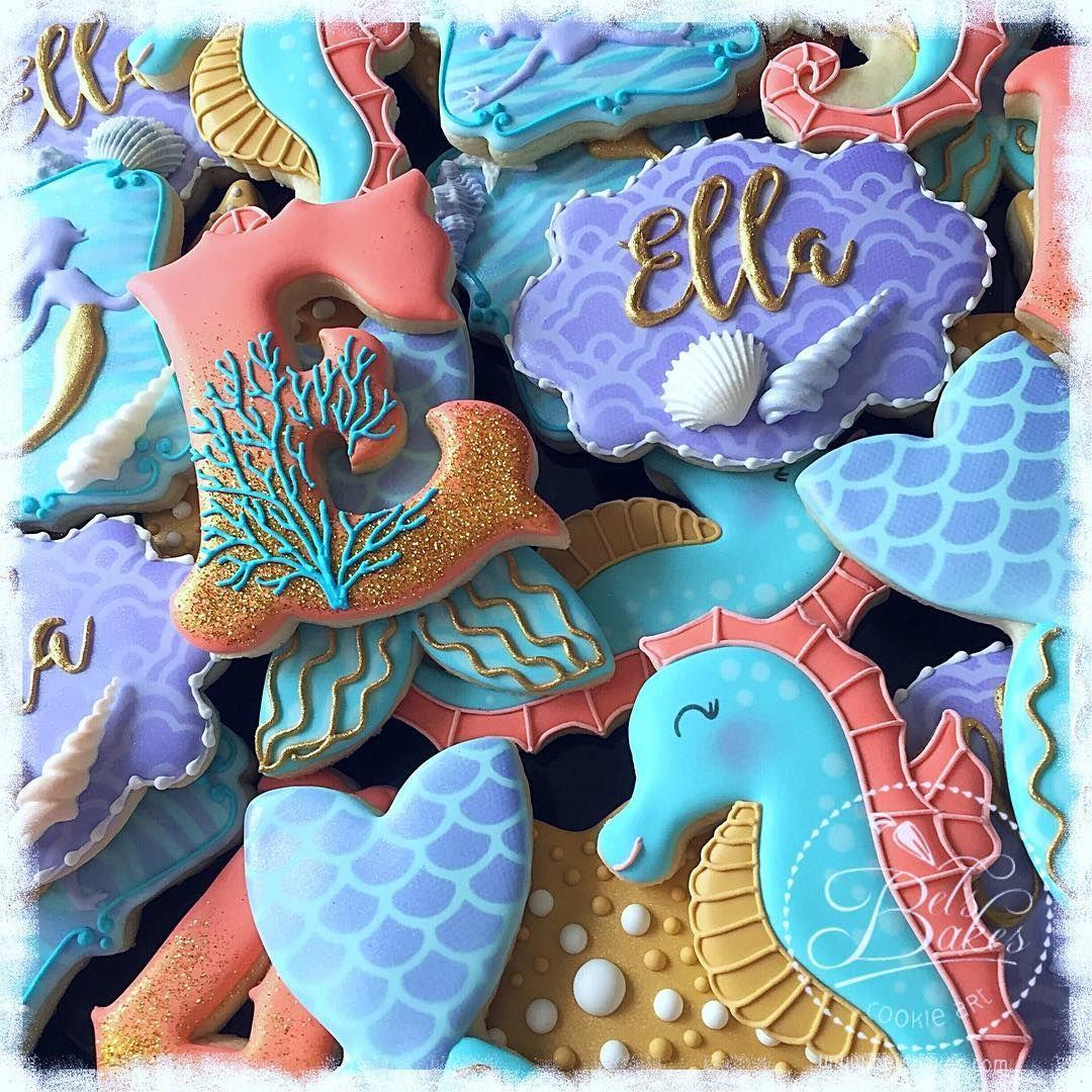 """Belinda (Bel's Bakes) on Instagram: """"Mermaid-Under The Sea themed birthday for sweet Ella  #belsbakes #cookieart #houstoncookies #decoratedcookieshouston…"""""""