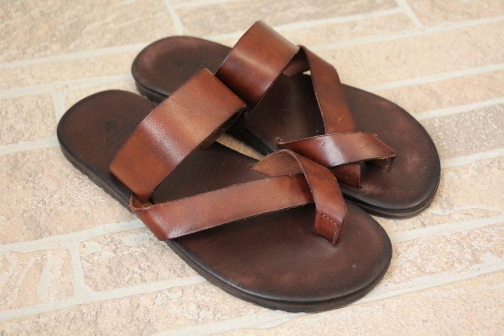 24f84b3188819 Brooks Brothers Mens 9 Dark Brown Leather Criss Cross Sandal Flip Flops  Italy  BrooksBrothers  FlipFlops