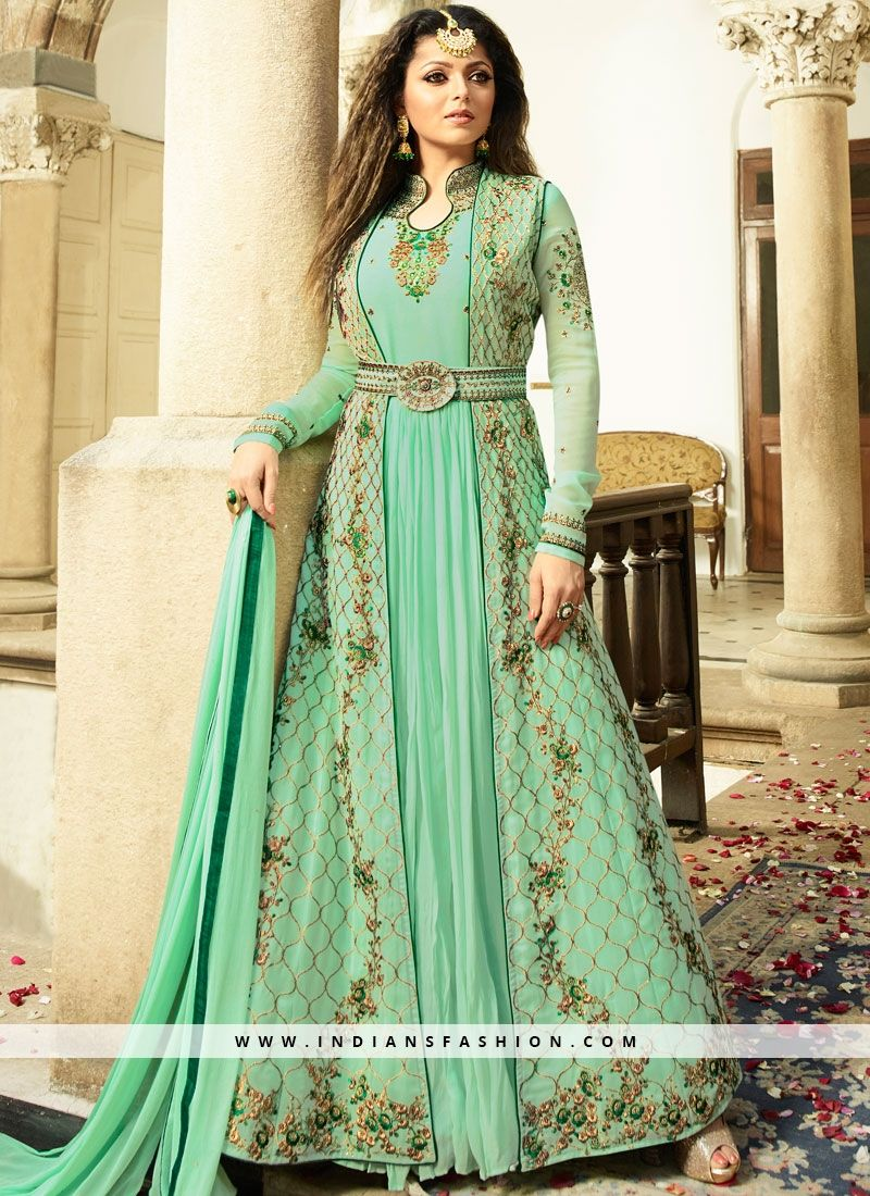 af0a7935bd Shop online stylish beautiful bollywood replica salwar suits. Order this  faux georgette embroidered and resham