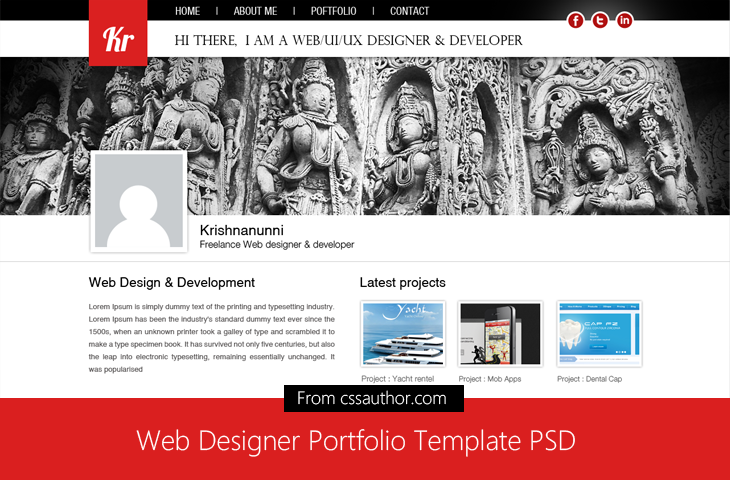 Web Designer Portfolio Template PSD for Free Download - Freebie No ...