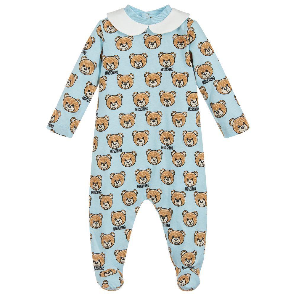 e06652375 Boys Blue Teddy Babygrow