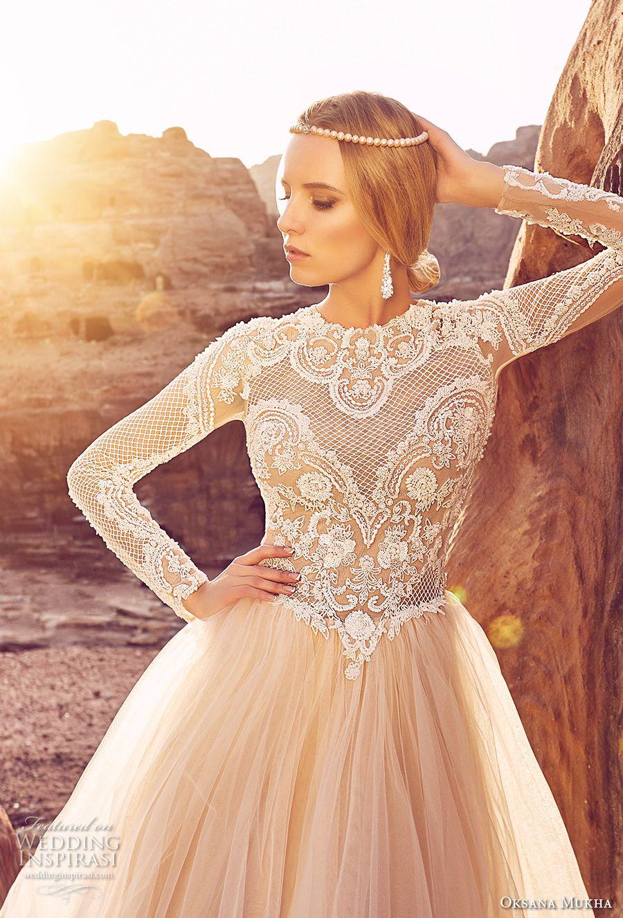 oksana mukha 2018 bridal long sleeves jewel neck heavily embellished lace bodice tulle skirt romantic a line wedding dress covered lace back royal train (khalissa) zv -- Oksana Mukha 2018 Wedding Dresses