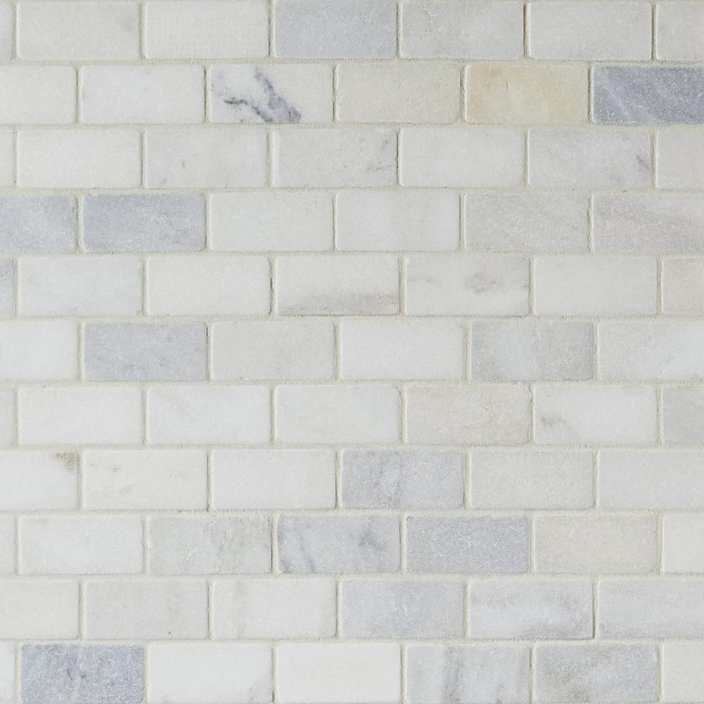 Elegant Carrara White Brick Marble Mosaic 12in. X 12in. 931100719 | Floor  And