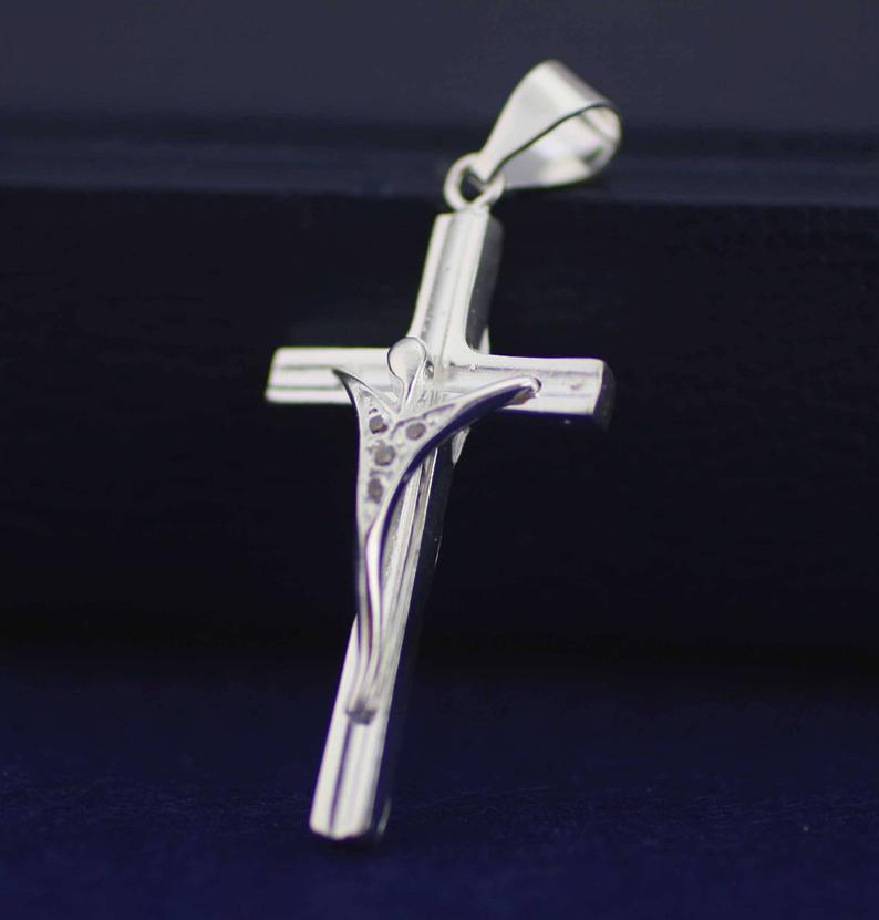 Silver Cross Necklace Sterling Silver Modern Crucifix Cross Etsy Cross Necklace Silver Mens Cross Necklace Sterling Silver Cross Necklace