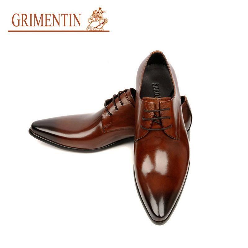 4ddec0f7c10 Wedo7 - GRIMENTIN 2015 Italian luxury designer formal mens dress shoes  genuine leather black basic flats for men wedding office size 11