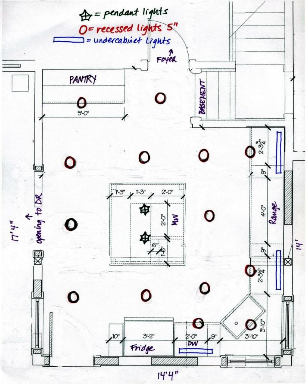 Recessed lighting layout diagram lighting info for Kitchen arrangement layout