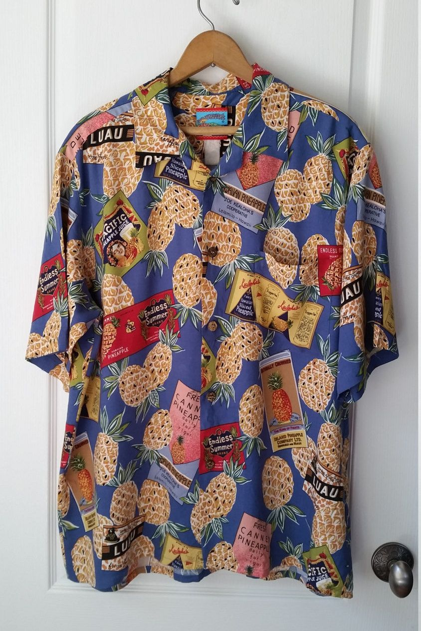 34b2a4bcd3ef Joe Kealuka's Hawaiian Shirt Men's XL Short Sleeve Vintage Pineapples and  Pineapple Can Labels The Genuine Hawaiian Shirt by RandomAmazing on Etsy