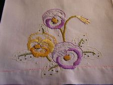 Vintage  Edwardian Embroidered Linen  Show Towel: Big Lovely Pansy Flowers