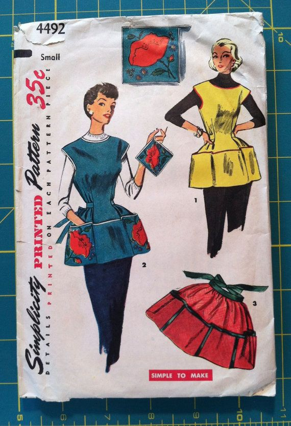Vintage 1950s Sewing Pattern Simplicity 4492 Cobbler & Half Apron Housewife Mad Men Kitchen Retro Small Bust 30 - 32. $6.50, via Etsy.