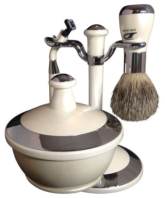 Delong Mens Shaving Kit with Pure Badger Hair by