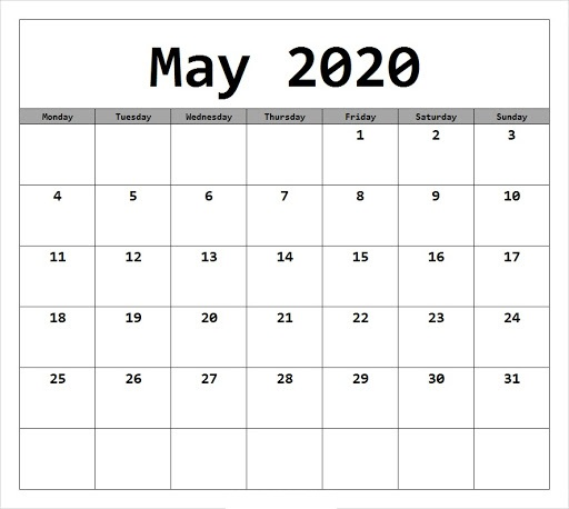 Free May 2020 Calendar With Monthly Planner Template In