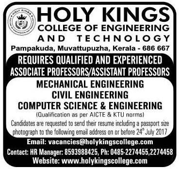 Holy kings college of engineering and Technology Pampakuda requires ...