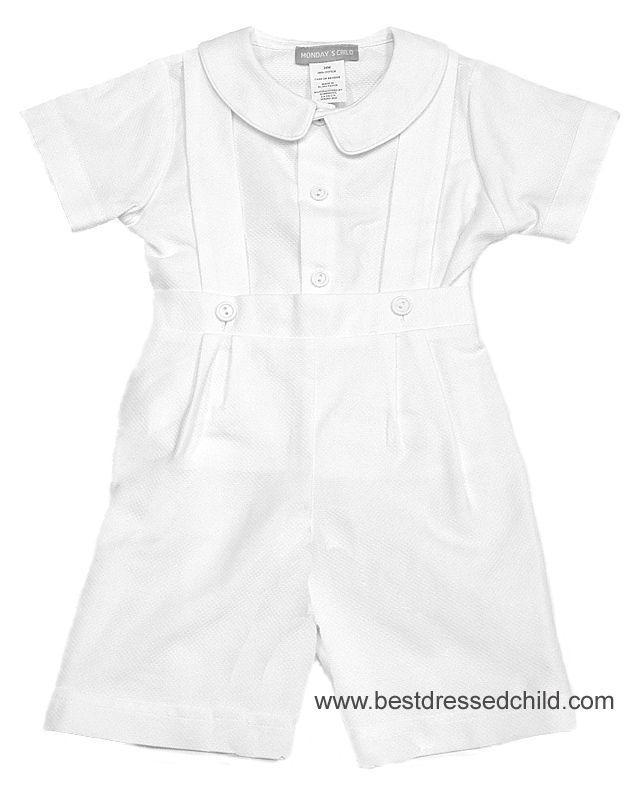 35bc75c49 Mondays Child Boys Dressy White Pique Suspender Shorts Outfit