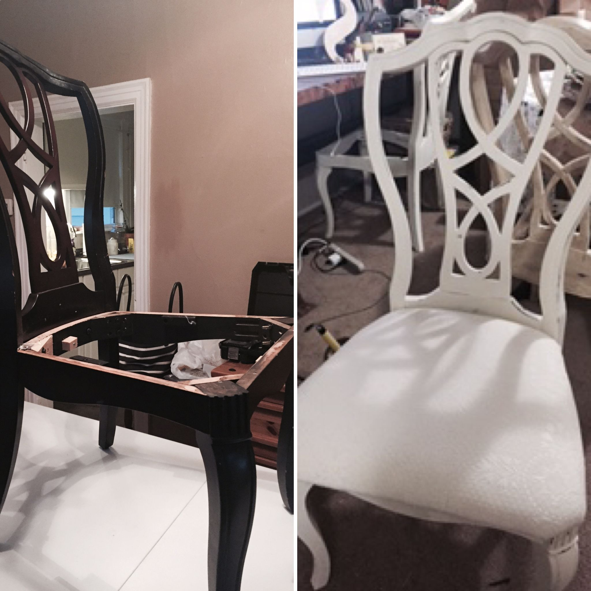 Before mahogany vintage wooden chair After Annie Sloan old white